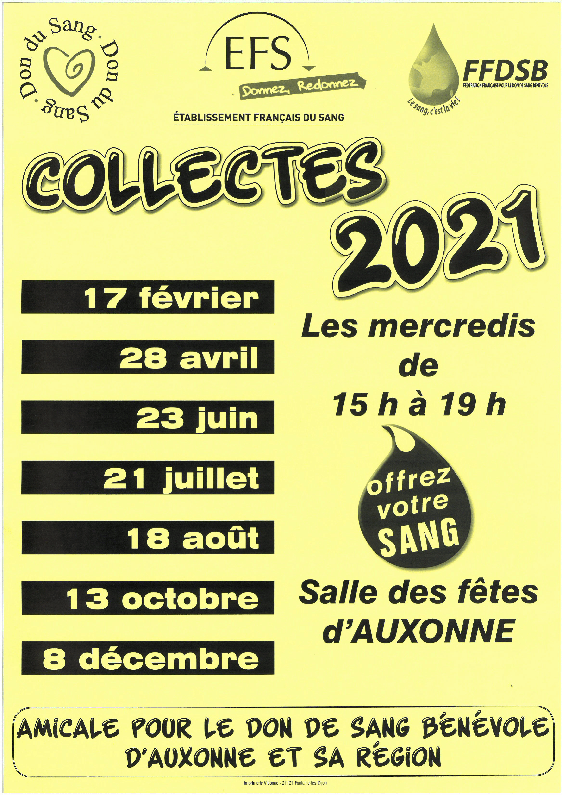 Don du sang AUXONNE dates 2021 1